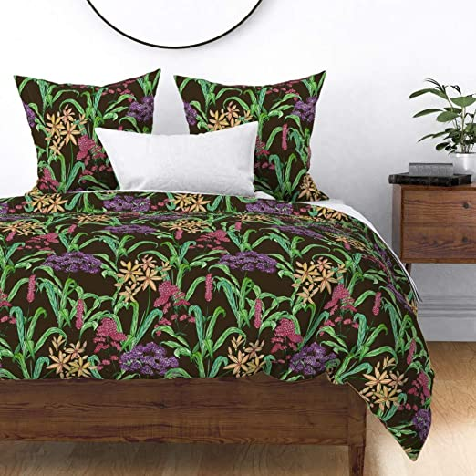 Gamanatura Home Bedding 3 Piece Queen Size Bed Duvet Comforter Cover Set Rich Floral Wild Flowers Pattern in Shades of Purple Orange Red Pink Cream Green on Lavender with Yellow Birds