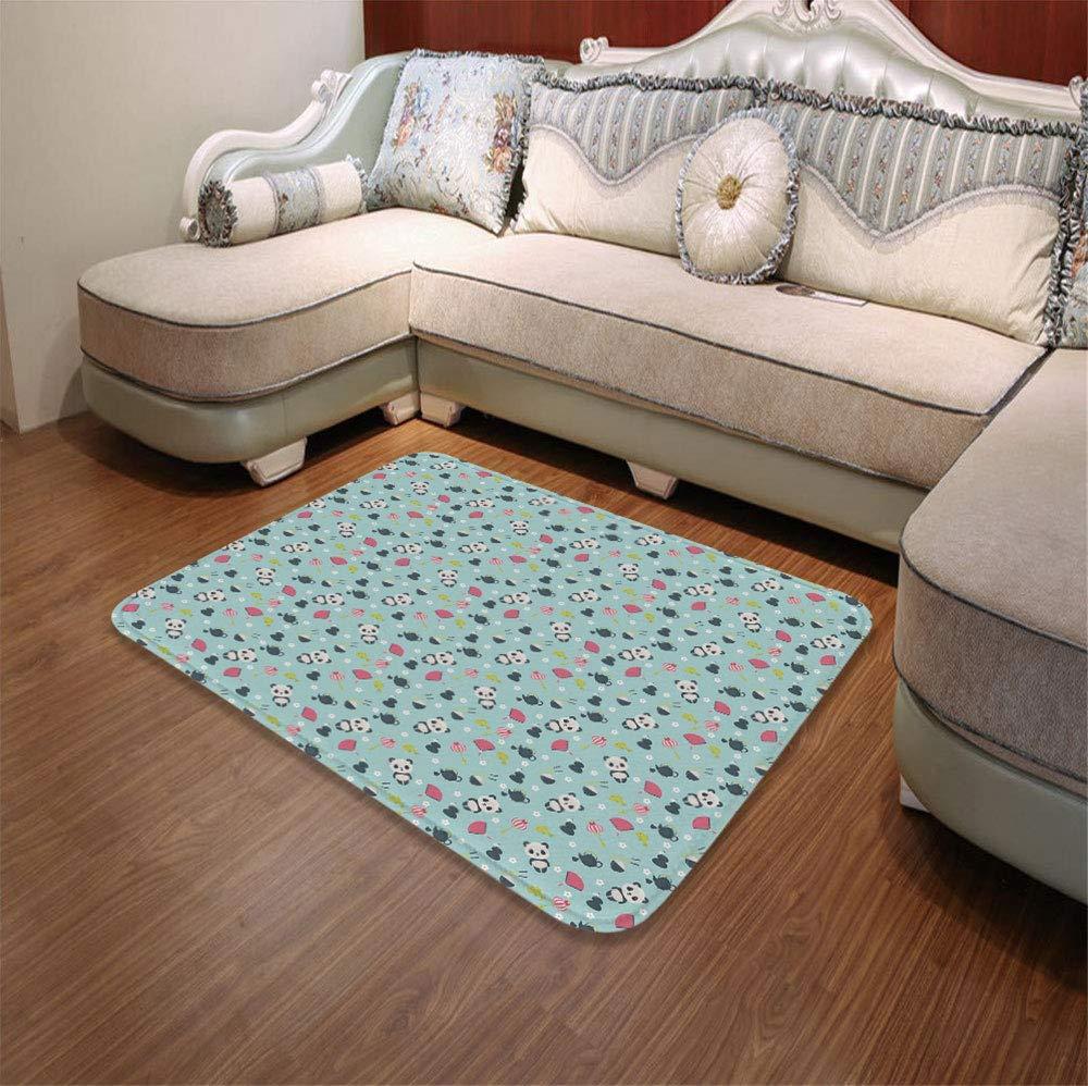 TecBillion Non-Slip Mat,Asian,for Bathroom Kitchen Bedroom,55.12'' x78.74'',Panda Bears Koi Fishes Chopsticks Tea
