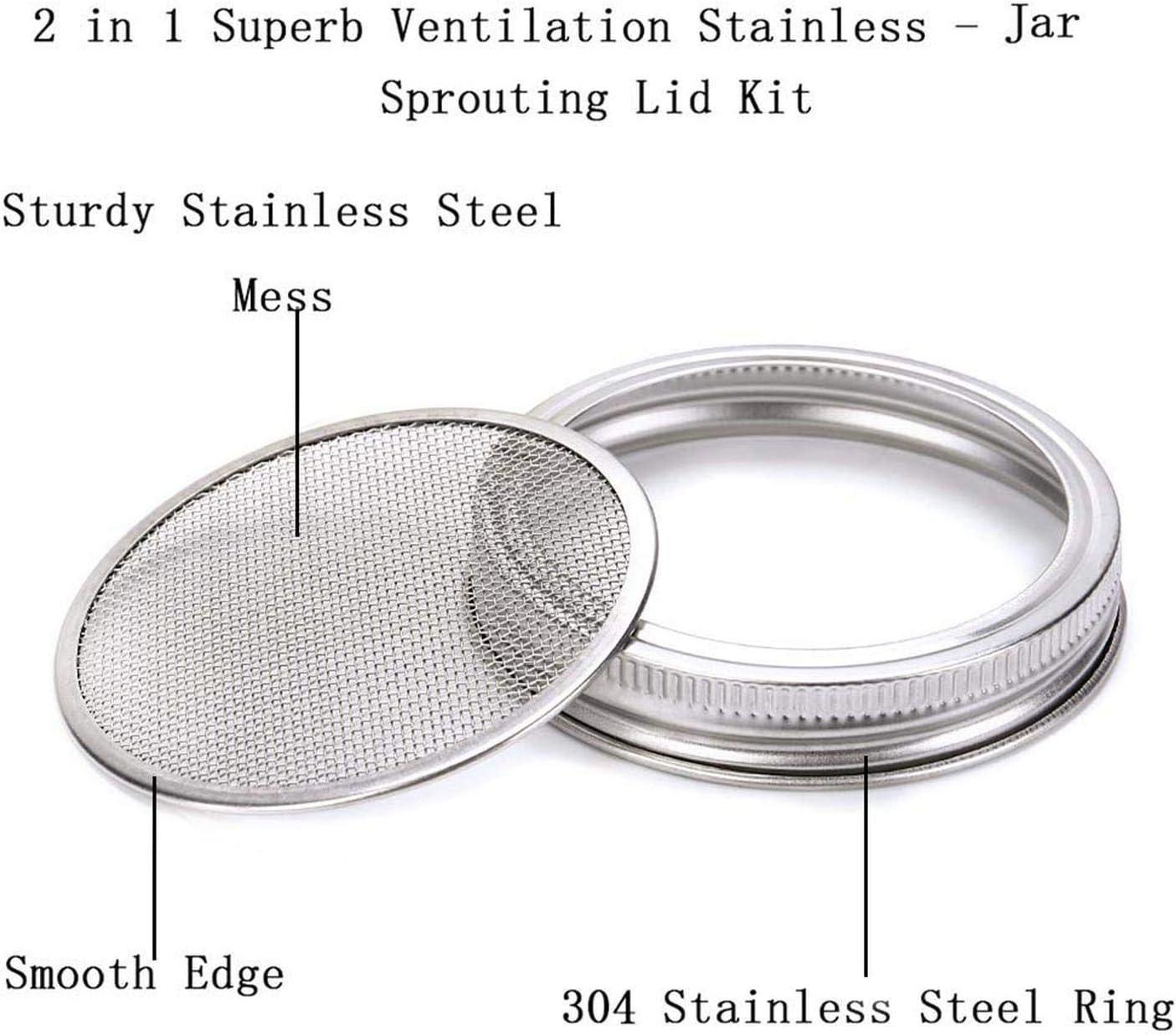 Germination Jar for large bouche pour les choux de croissance Couvercle Kit en acier inoxydable durable