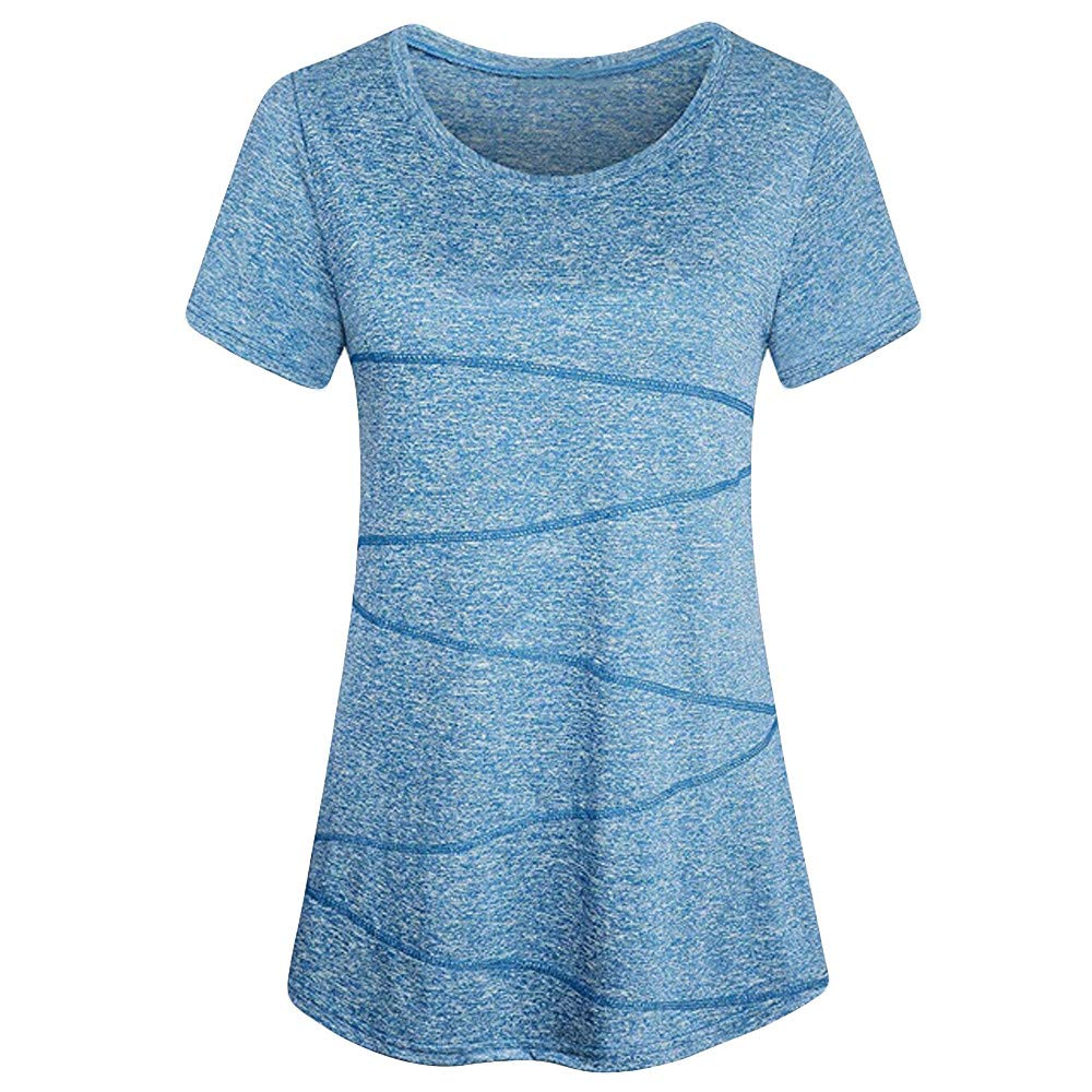 Womens Solid T-Shirt FEDULK Short Sleeve Yoga Tops Activewear Running Workout Blouse Sweatshirt(Blue, US Size XS = Tag S)
