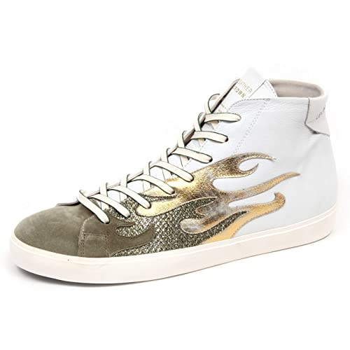new style dd441 408ee Leather Crown F0566 Sneaker Uomo White/Green/Gold Scarpe ...