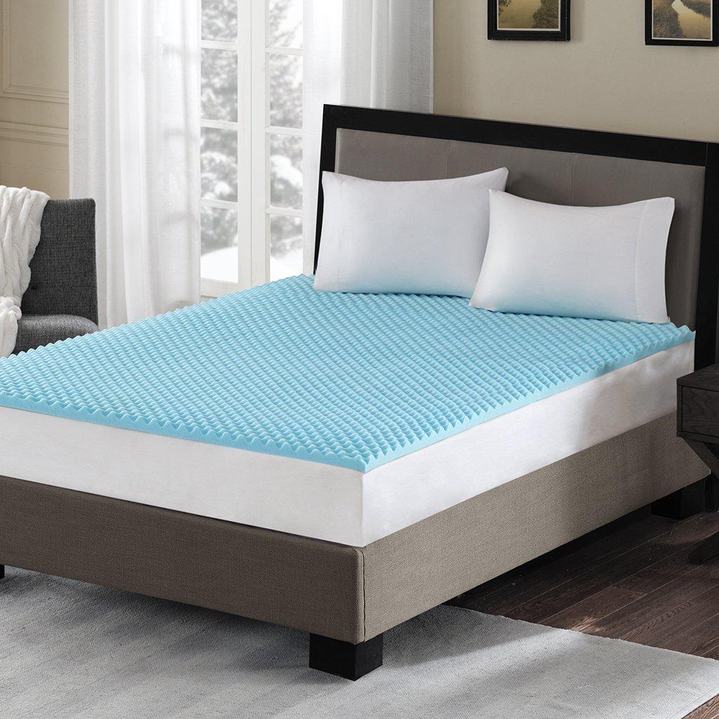 Sleep Philosophy Gel Memory Foam Mattress Protector Cooling Bed Cover Queen Blue