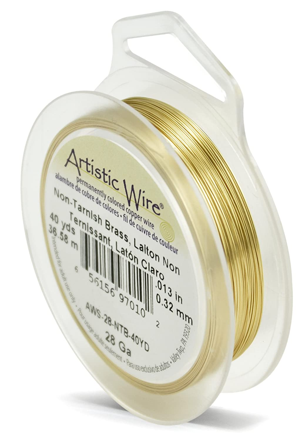 Amazon artistic wire 28 gauge non tarnish brass wire 40 yards greentooth Choice Image