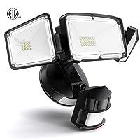 Amico 3 Head LED Security Lights Motion Sensor Outdoor Adjustable 40W, 3500LM, 5000K...