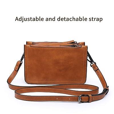 Multifunctional Triple Zip Pocket Leather Crossbody Bag for Women seOSTO Medium Crossbody Bag