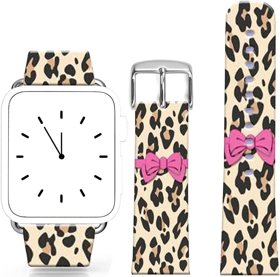 Bands Compatible for Watchs 38mm/40mm Series 1/2/3/4 / Topgraph Replacement Strap Compatible for Watch 38mm/40mm Beautiful Leopard Print Cute Bowknot Design