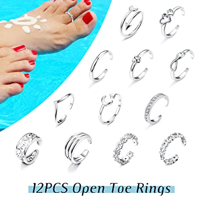 Fashion Women Simple Retro Infinity Design Adjustable Toe Ring Foot Jewelry HICH