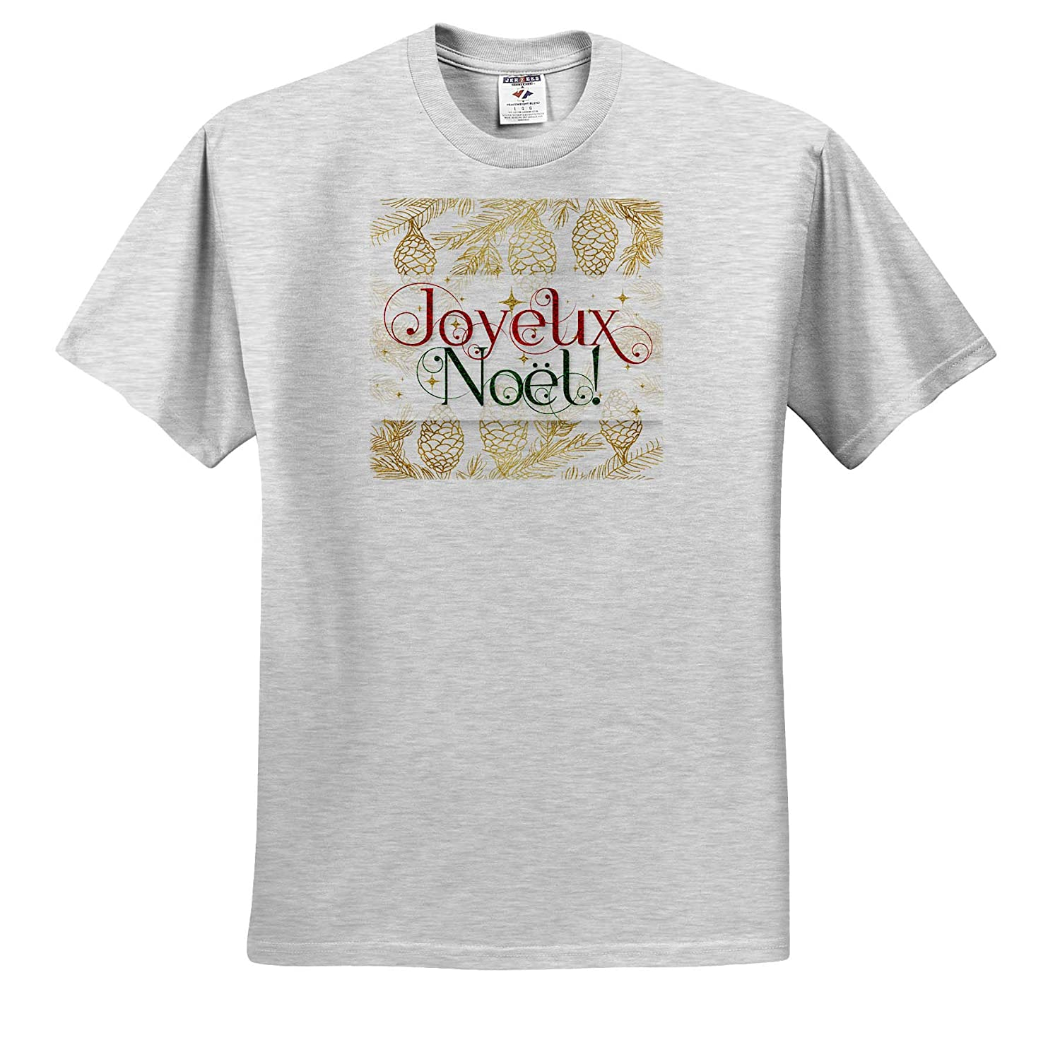 3dRose Doreen Erhardt Christmas Collection Joyeux Noel French Christmas Image of Red Green and Gold T-Shirts