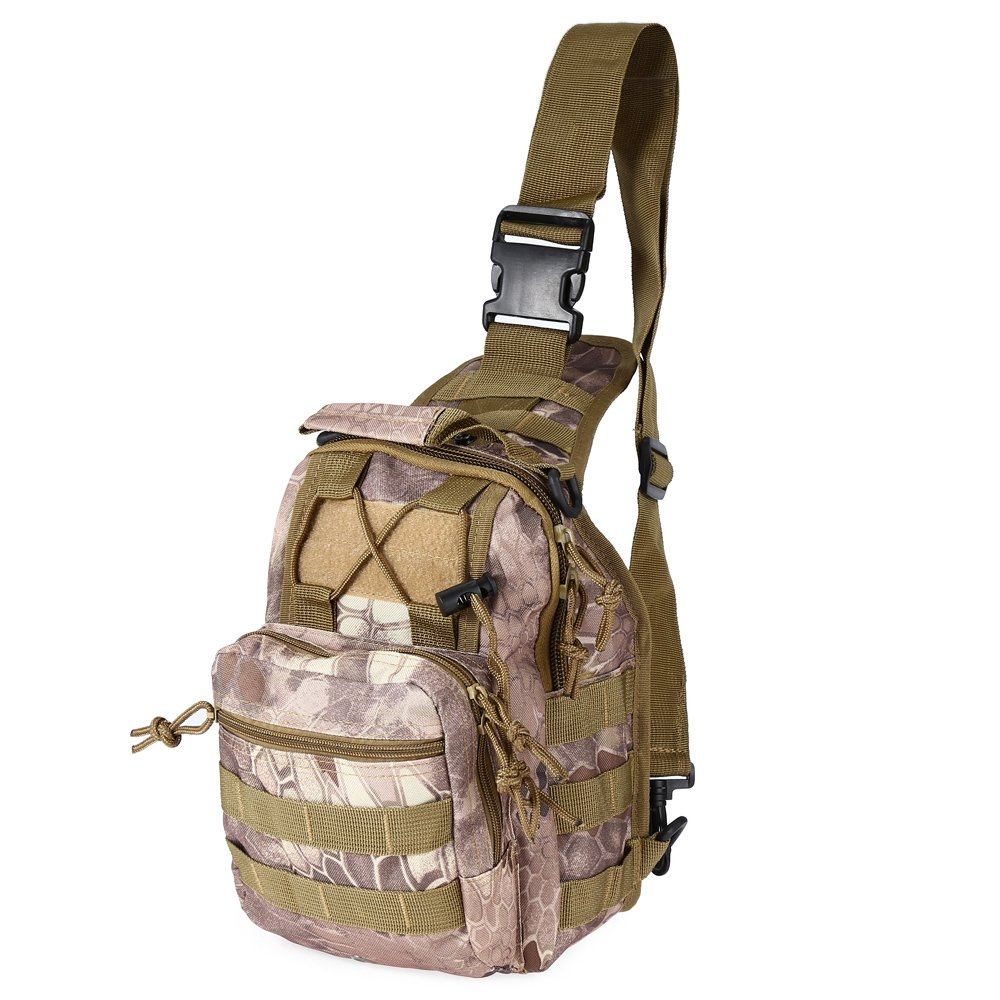 Outdoor Shoulder Military Sport Backpack Rucksack Camping Travel Hiking Hunting Trekking Bag Small Tactical Assault Pack Daypack (Wasteland Python Pattern)