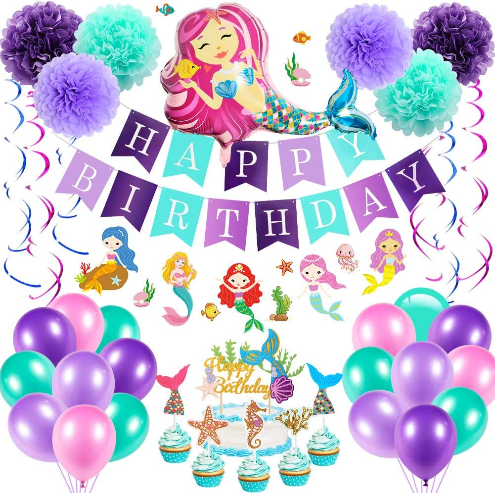 Mermaid Birthday Party Decorations/&Mermaid tail Balloons Garland,Happy Birthday Banner,Balloon decoration tools,Paper tassel,Pom Poms Flowers,for Girls Birthday Party