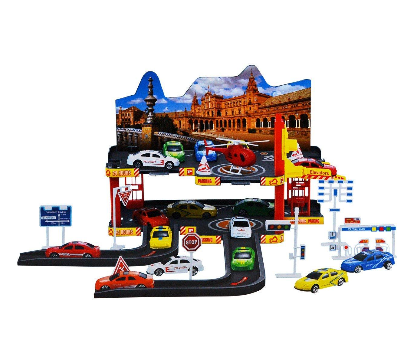36602 Garaje con coches de juguete 3 coches escala 7:16 1 helicóptero