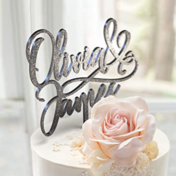 Bride and Grooms Name Personalized Unique Customized Wedding Cake Topper  with Customizable