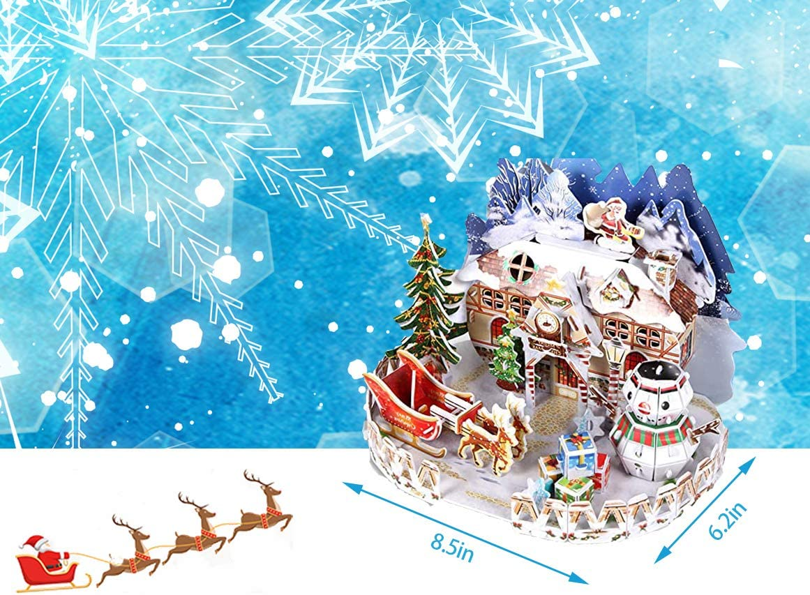 57 Pieces Snowman Reindeer Wooden House Model Kits Jigsaw Family Toys for Adults and Kids Christmas 3D Paper Puzzle Jigsaw Christmas Decorations Gifts Crafts
