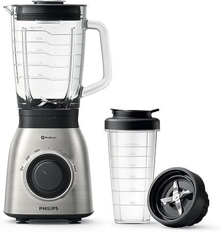 Philips Standmixer HR3556/00 (900 W, 27000 Umdr. / Min., 2L Glasbehälter, Trinkflasche, spülmaschinenfest) edelstahl