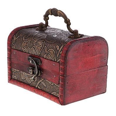 Baoblaze Caja de Madera Diseño Retro Estuche para Almacenaje ...