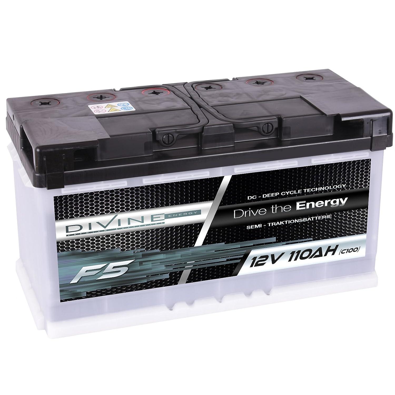 Divine 12V 110Ah Solarbatterie Mover Versorgungsbatterie Wohnmobil Boot Marine Camping Batterie Wartungsfrei