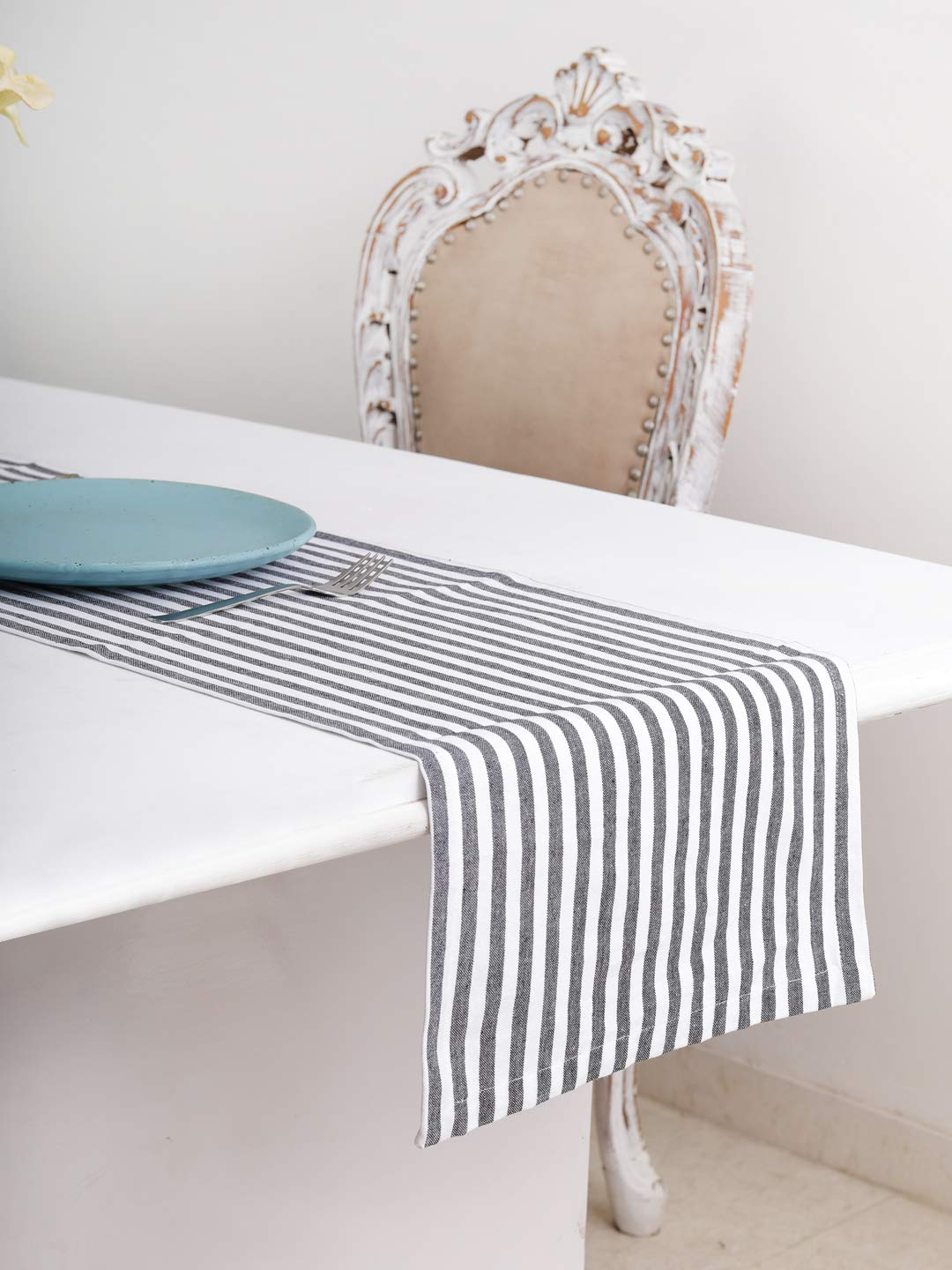 Cotton Table Runner (13 X 72 Inches), Black & White Stripe - 1'' Hemmed With Mitered Corner,Perfect For All Seasons And Holidays