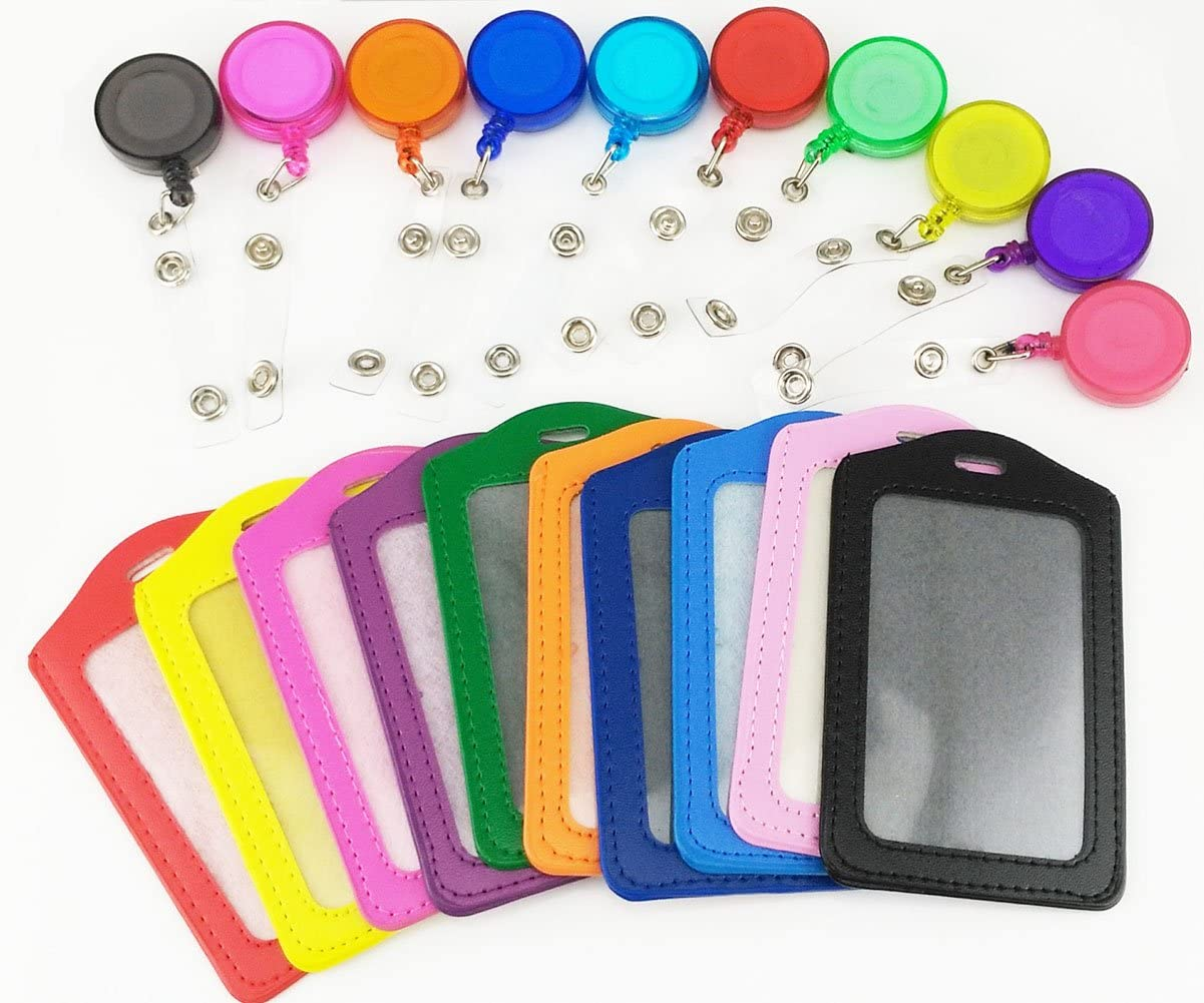 yueton Pack of 10 PU Leather ID Badge Card Holder with Retractable ID Badge Reel : Office Products