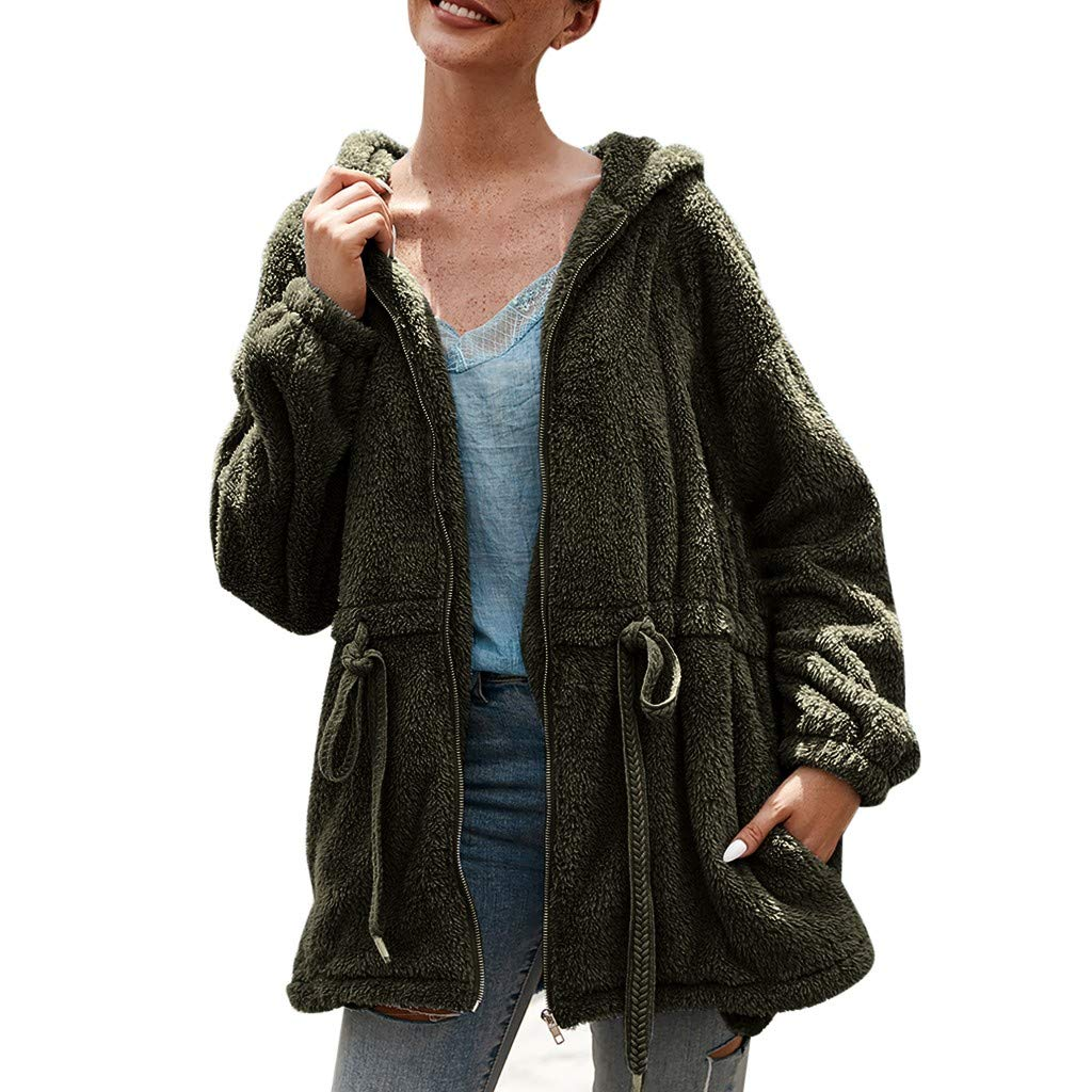 wuliLINL Womens Solid Color Faux Fur Coat Long Sleeve Parka Jacket Outwear Winter Warm Drawstring Cotton Zip Up Hooded Overcoat with Pocket(Green,M) by wuliLINL