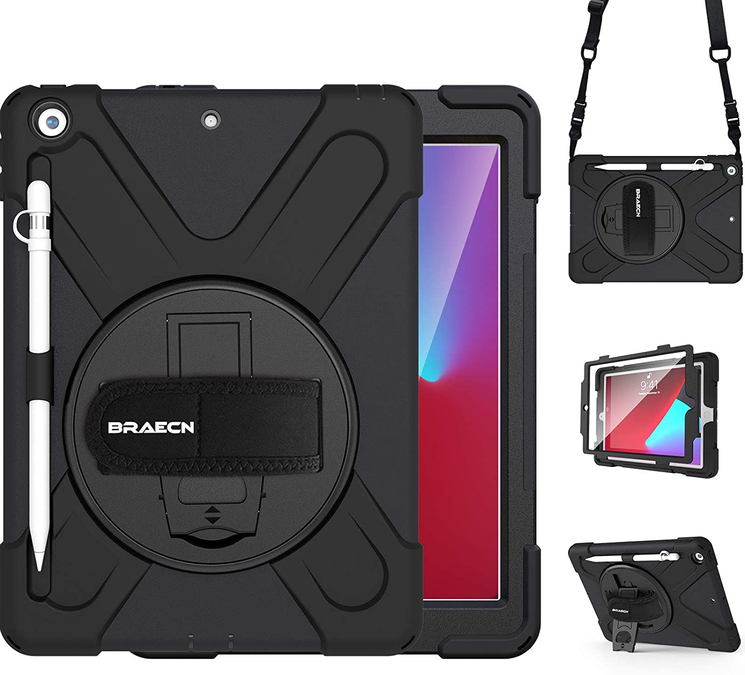 BRAECN iPad 8th Generation Case,Heavy Duty Shockproof Case with Screen Protector, Pencil Holder, Pencil Cap Holder, Hand Strap, Kickstand, Shoulder Strap for iPad 8th/7th Gen 10.2 Inch 2020/2019-Black