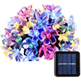 Qedertek Solar Christmas String Lights, 21ft 50 LED Fairy Blossom Flower Garden Lights for Outdoor, Home, Lawn, Wedding, Patio, Party and Holiday Decorations 1 Pack (Multi-Color)