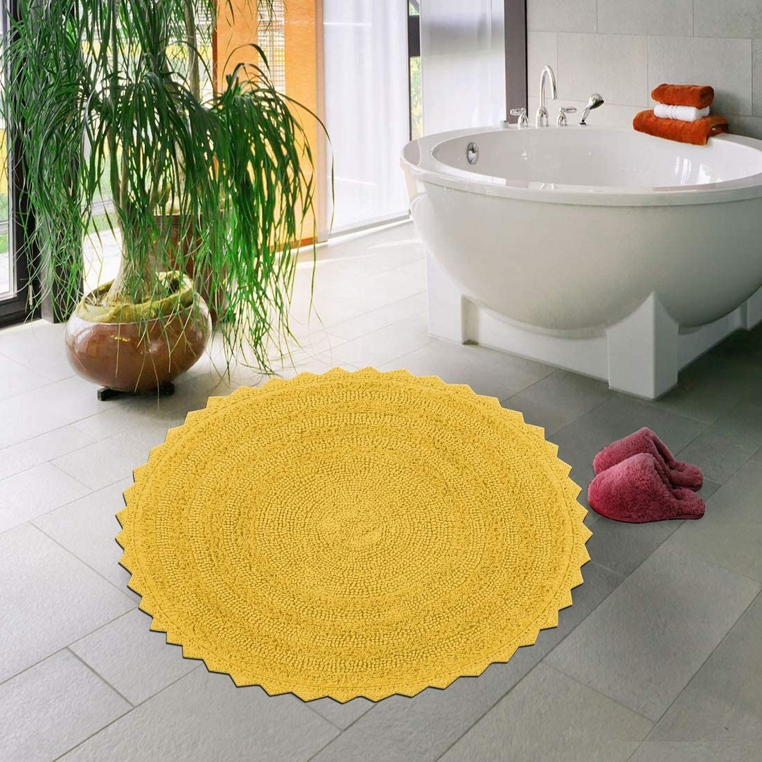 Sheen Decor 100% Cotton Reversible Bath Mat Extra Absorbent | Super Cozy & Extra Soft Cotton Bathroom Rug Floor Mat - 24 inches Round, Yellow
