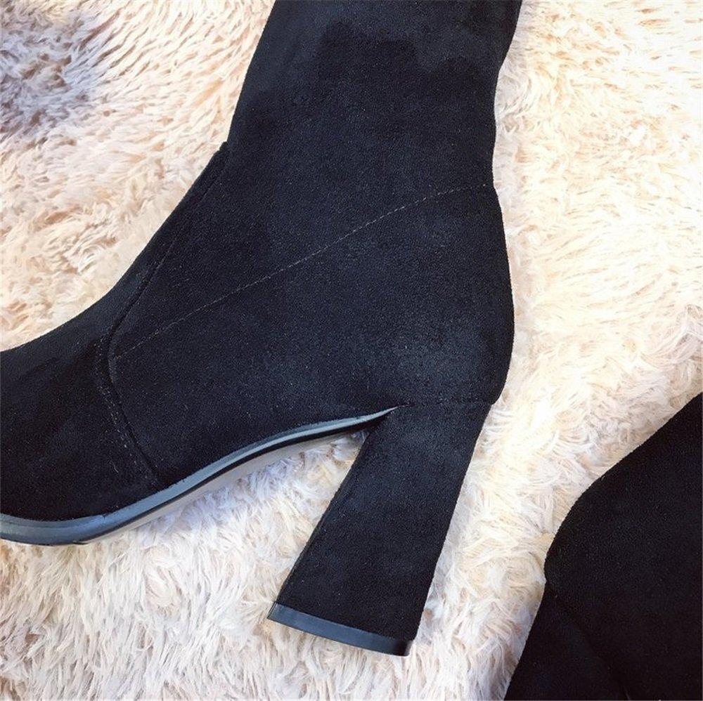 TMKOO 2018 Herbst Stovepipe und Winter neue Stretch Stovepipe Herbst Knie Stiefel Frauen Europa und den Vereinigten Staaten spitzen Stiefel mit hohen Stiefeln ( Größe : 37 ) 813d3f