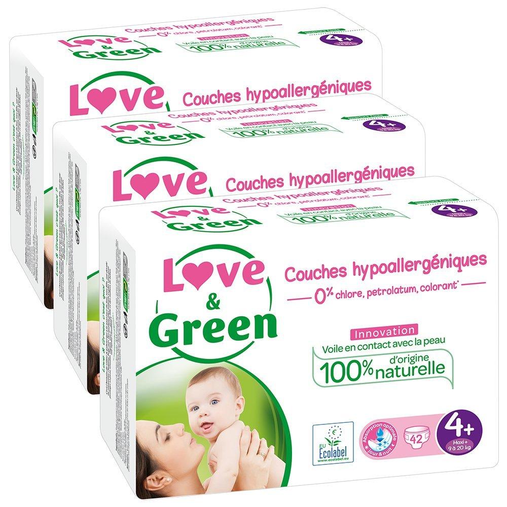 - Lot de 3 x 42 couches Couches Bébé Hypoallergéniques 0/% Love /& Green 9-20 kg 126 couches Taille 4+