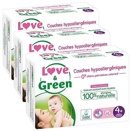 Love & Green - Pañales ecologicos, talla 4+ (9-20 kg)