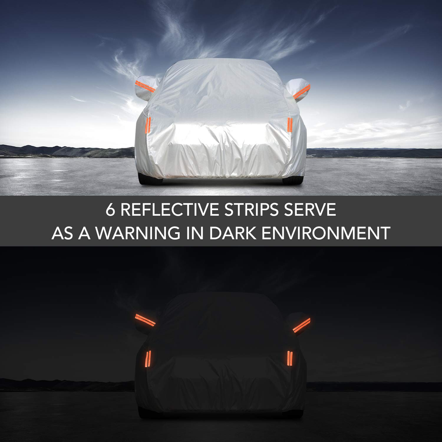 Car Cover Universal Full Car Covers with Zipper Door 6 Layers All Weather Protection Waterproof Windproof Dustproof Scratch Resistant Outdoor UV Protection Car Reflective Strips for Sedan Wagon Use