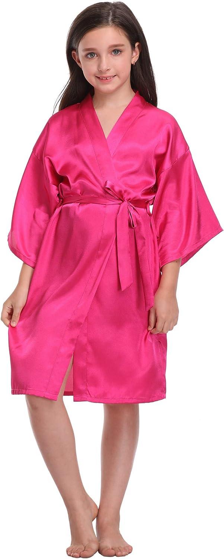 Girls Peacock Floral /& Pure Color Robes Silk Satin Flower Girl Wedding Party Gift Kimono Bathrobe Nightgown