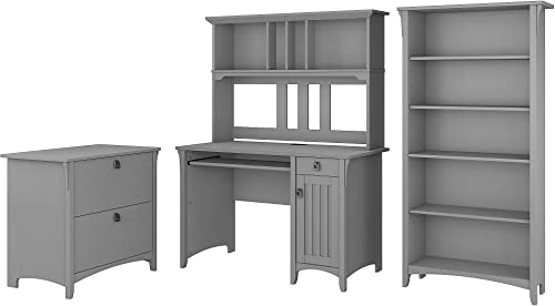 Bush Furniture Salinas Mission Desk with Hutch, Lateral File Cabinet and 5 Shelf Bookcase in Cape Cod Gray