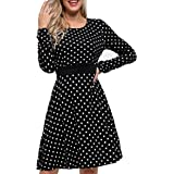 Arach&Cloz Women's Long Sleeve Casual Midi Dress Polka Dot Plaid Floral Party Swing Dress with Pockets(Black Polka Dot, Large