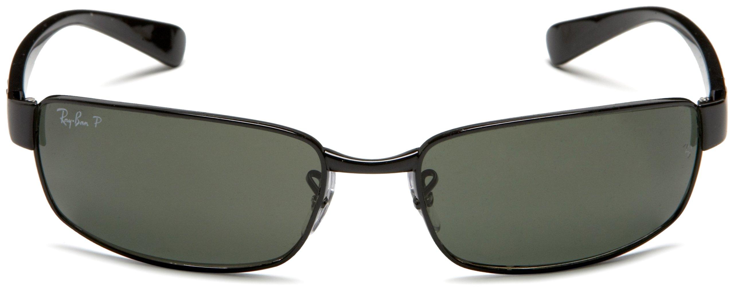 Ray-Ban RB3364 Rectangular Metal Sunglasses, Black/Polarized Green, 62 mm by Ray-Ban (Image #2)