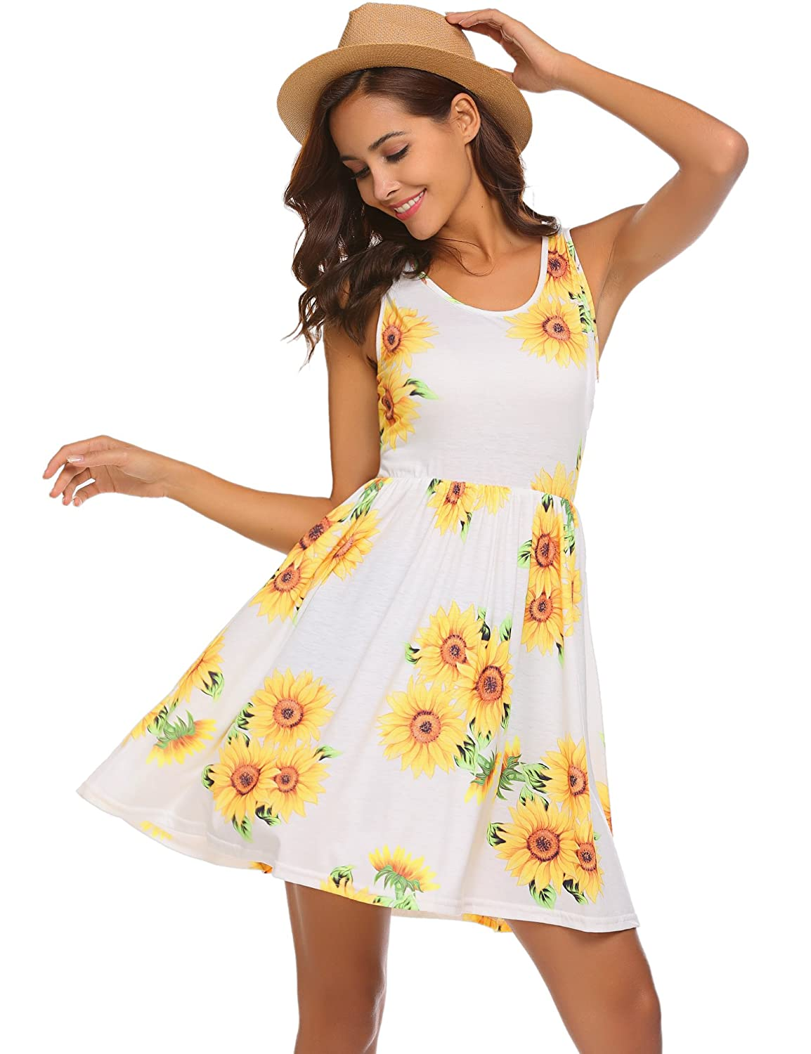 Yellow POGTMM Women's Casual Summer Sleeveless Sundress Floral Printed Dresses Tank Mini Dress