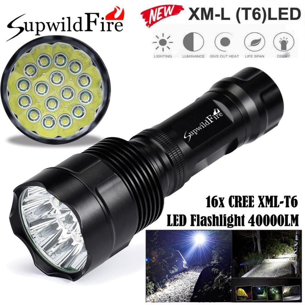 HCFKJ SupwildFire 40000Lm 16x CREE XML T6 LED 5 Modus LED Taschenlampe Licht Lampe