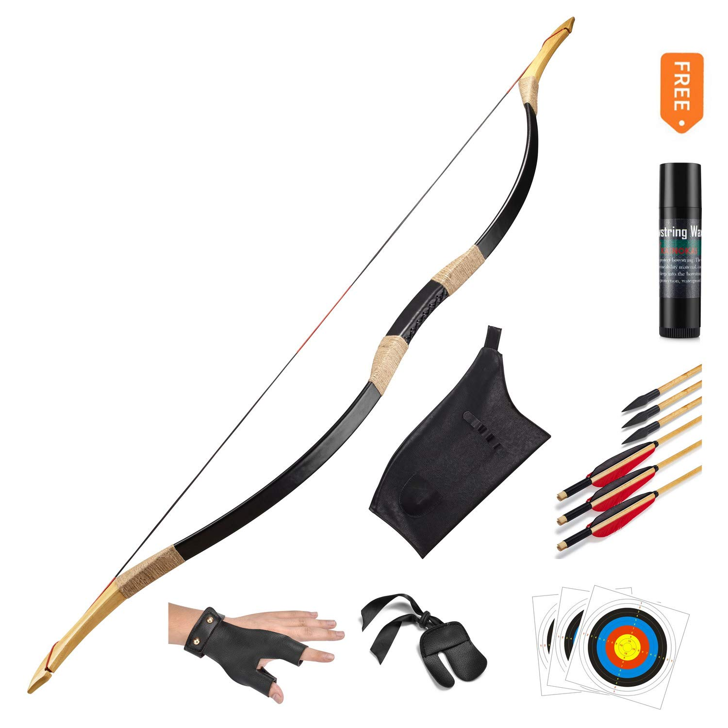 KAINOKAI Traditional Handmade Longbow Horsebow Hunting Recurve Archery Bow Recurve Bow Set (Black Warrior, 25.0 Pounds)