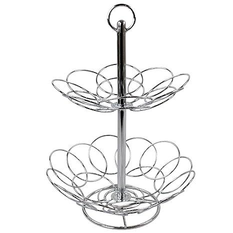 Food & Kitchen Storage Chrome 2 Tier Fruit Veg Basket Rack Holder Stand Wire Dinning Table Bowl Storage Home, Furniture & DIY