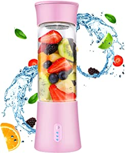Portable Blender for Shakes and Smoothies - Personal Blender with Rechargeable USB, 6 Blades, 13 Oz Travel Cup and Lid, Pink