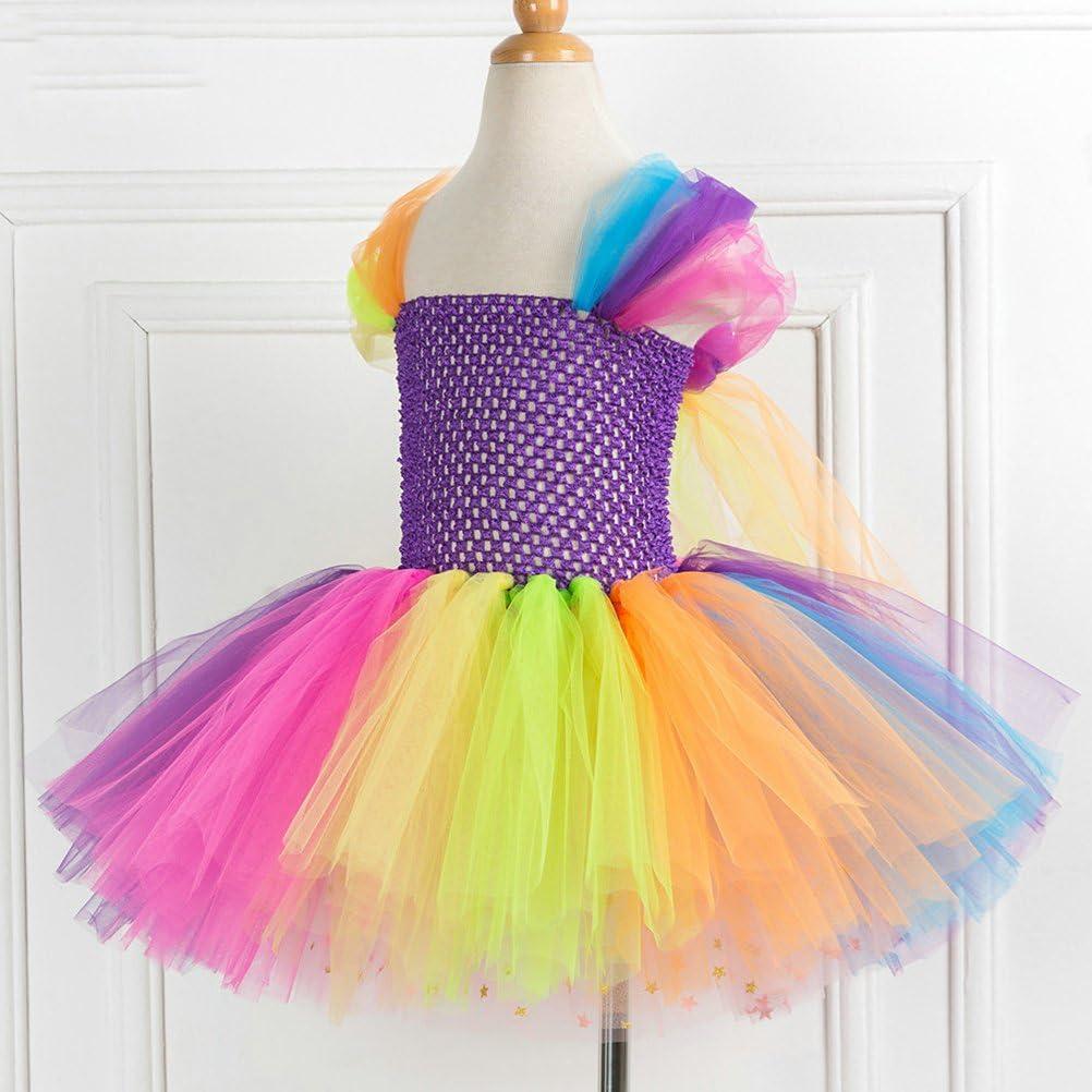 Strampler aus rotem T/üll. Prinzessinnen-Kleid mit Pailletten Loalirando Weihnachtskleid f/ür M/ädchen