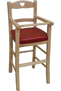 OKAFFAREFATTO MADDALONI Stuhl Fur Kinderhochstuhl Luxus Aus Holz Natur Mit Sitzflache Kunstleder Rot Gebeizt