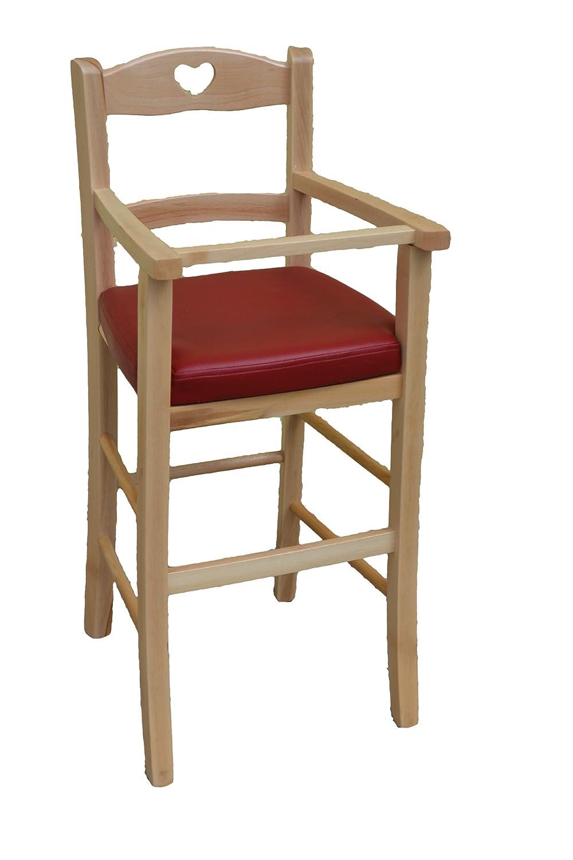 OKAFFAREFATTO MADDALONI Stuhl Stuhl für Kinderhochstuhl Luxus aus Holz Natur Natur mit Sitzfläche Kunstleder rot gebeizt