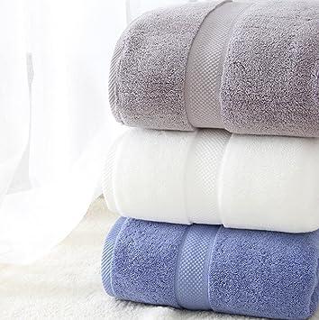 Toalla de baño de estilo fresco, teñido de lana de primera calidad 100% toalla de algodón 80 cm * 140 cm , white: Amazon.es: Hogar