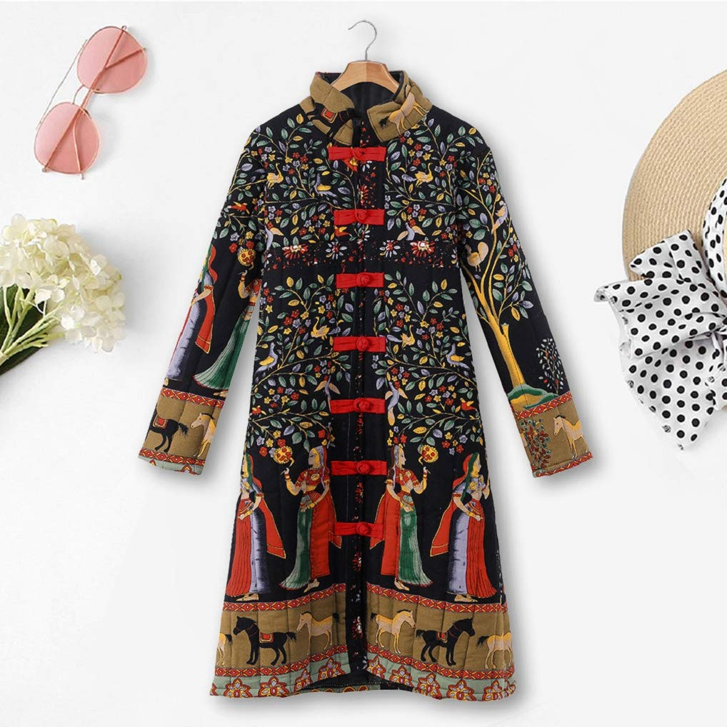 Vintage Inspired Dresses & Clothing UK Womens Oversize Long Coats TUDUZ Ladies Winter Warm Vintage Chinese Style Parka Loose Ethnic Boho Print Button Jacket £13.59 AT vintagedancer.com