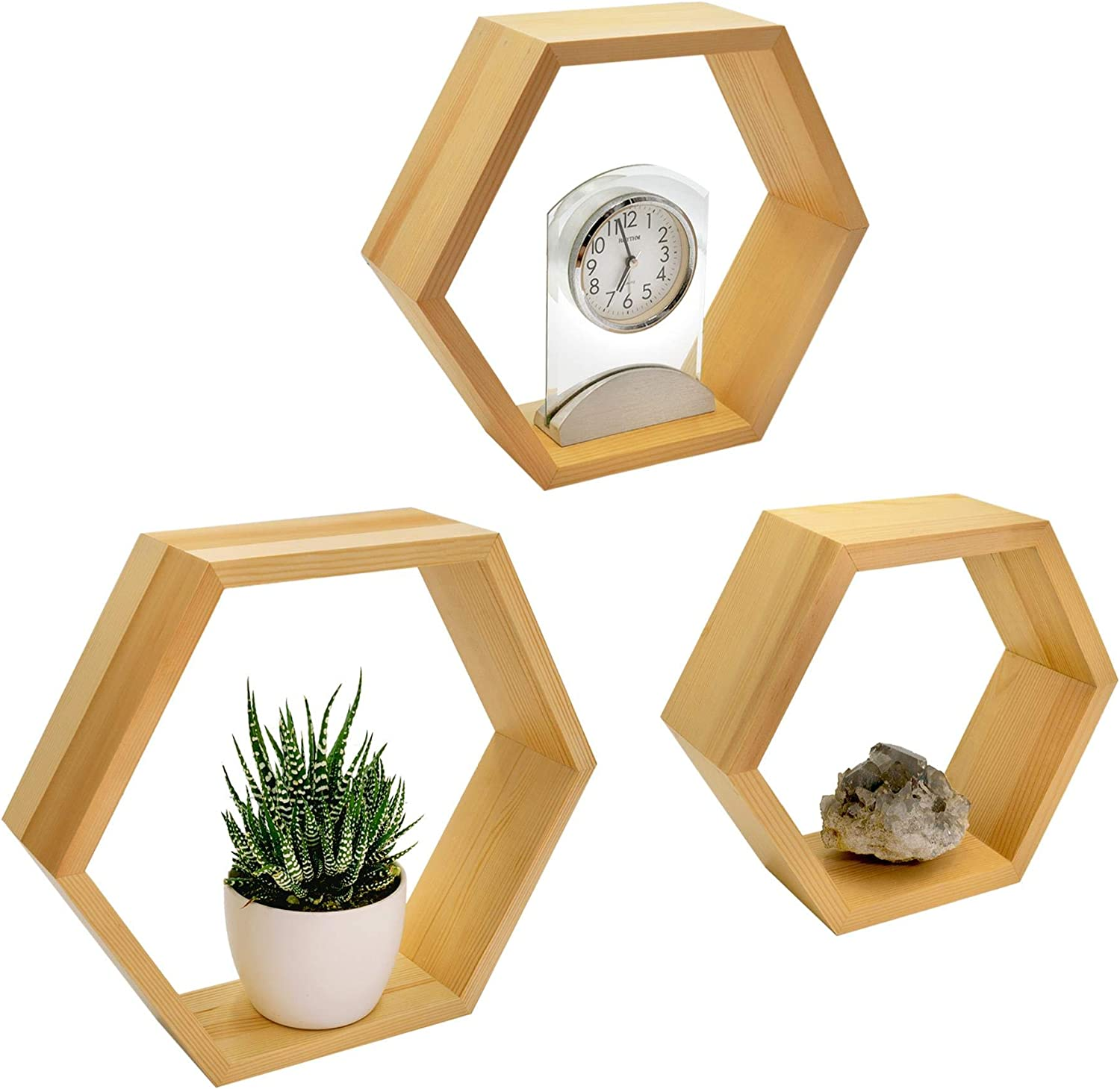 NAUMOO Natural Wood Hexagon Shelves - Wall Mounted Hexagonal Floating Honeycomb Shelves - Modern Geometric Wall Decor for Home, Living Room, Bedroom and Bathroom - Screws Anchors Included - Set of 3