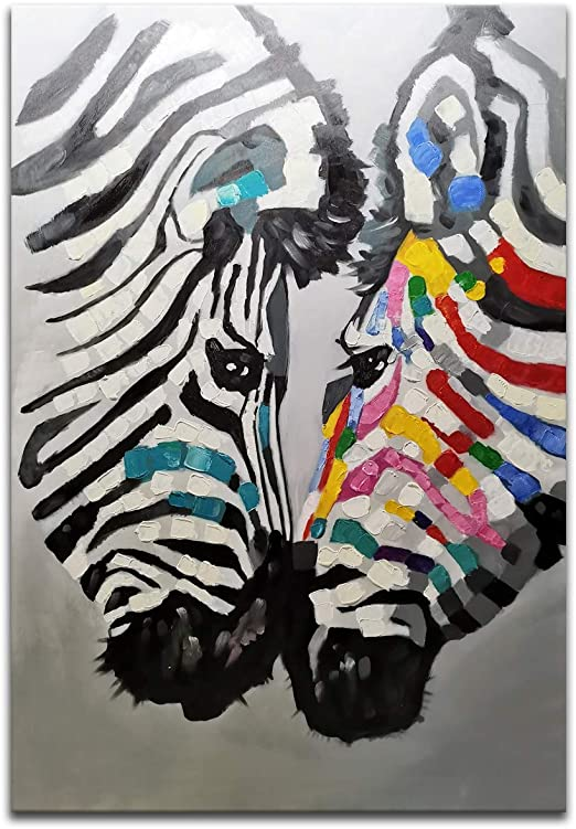 /'Zebra Love/' Beautiful Animal Oil Painting on Canvas Private Collection