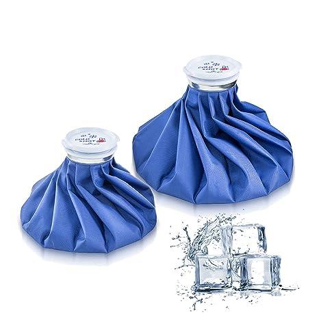Bolsa de hielo paquetes de 2 – Bolsa de frío y calor reutilizable Packs aliviar el malestar reducir el dolor 2 tamaños (23/28 cm)