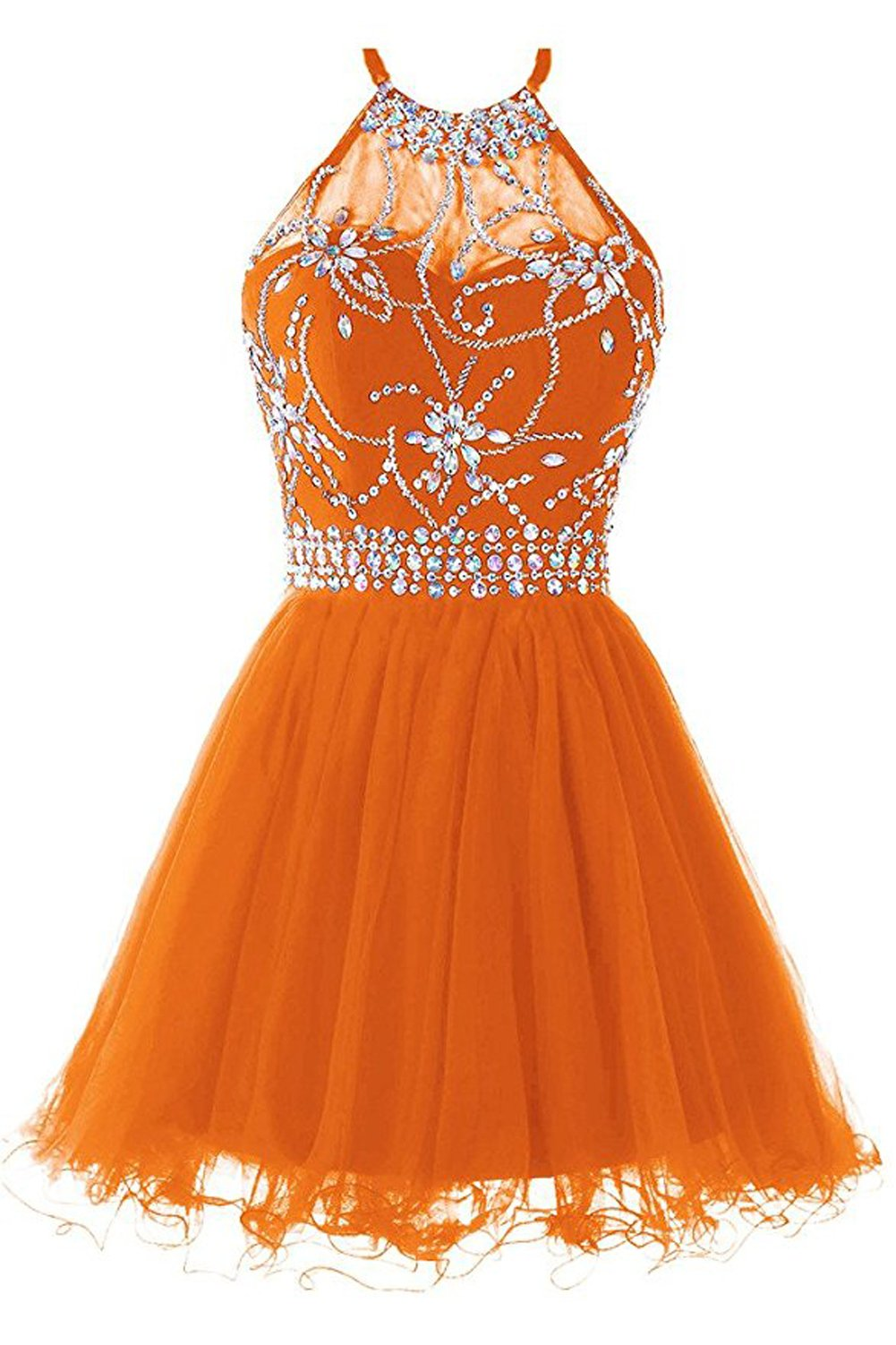 Lily Wedding Juniors Halter Crystals Tulle Prom Dresses 2019 Short Formal  Party Gowns FHD009 Plus Size 22 Orange