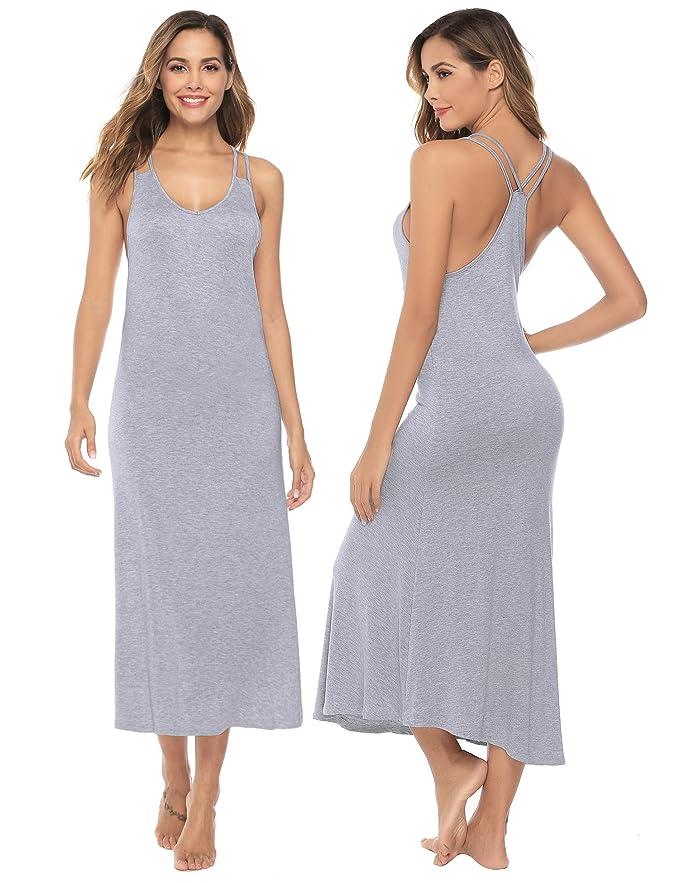 Sykooria Vestidos Largos para Mujeres Maxi Correa Resbalón Completo Verano Casual Sin Mangas Camisón Ropa de Dormir con Camisa de Algodón Suave