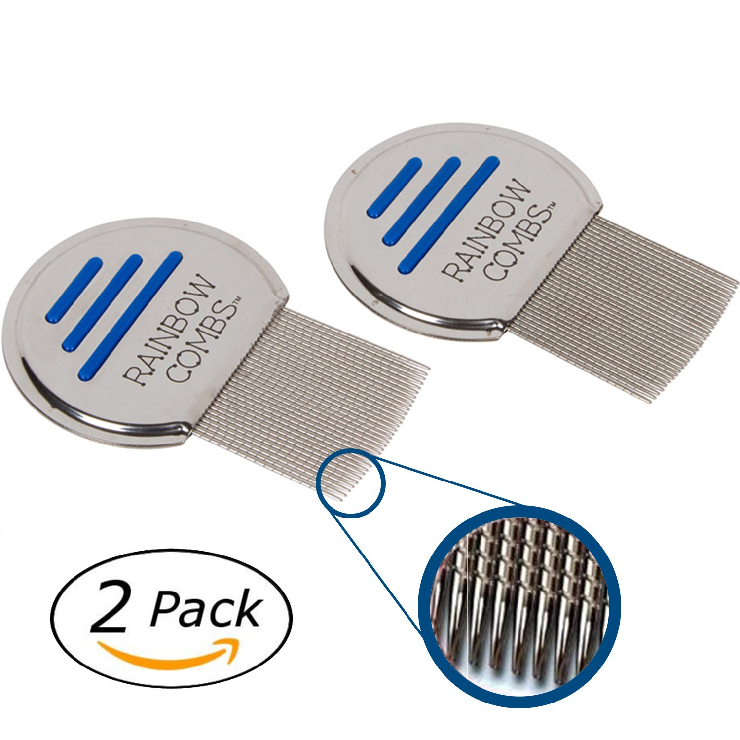 (2 Pack) Rainbow Combs- Stainless Steel  Style Fine Tooth Lice Comb, Effective Treatment to Remove Head Lice and Nits in Kids or Adults (peine para piojos y liendres)
